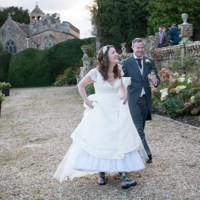 Brides in wellies Brympton House