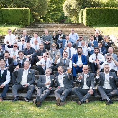 Wedding day groomsmen photography Dartington Hall Estate Devon