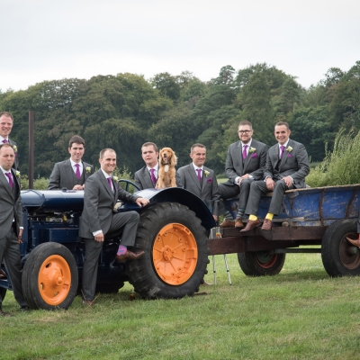 groomsmen-on-tractor