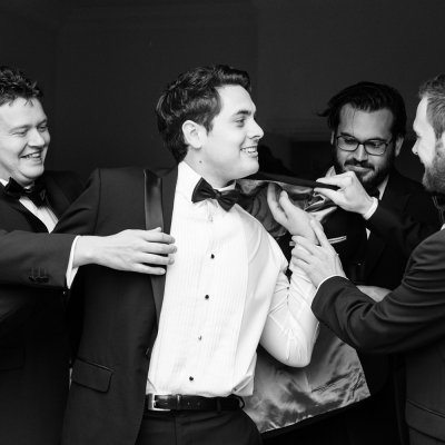 groomsmen getting ready relaxed wedding photography